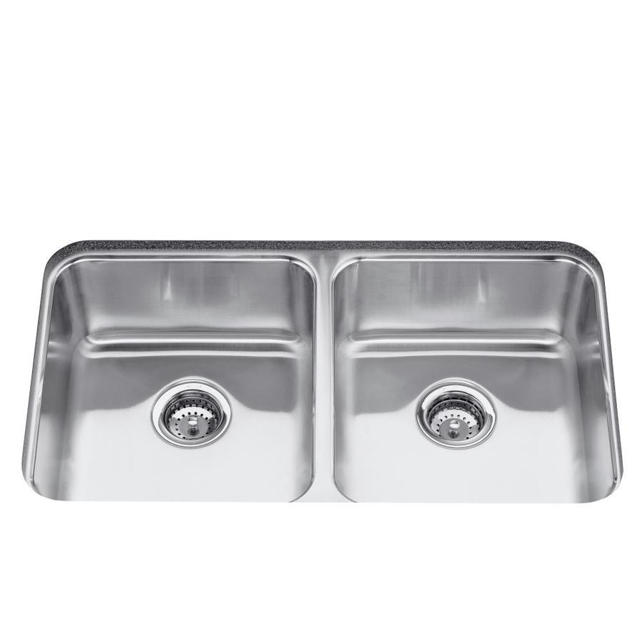 KOHLER Undertone 18-in x 31.5-in Stainless Steel Double-Basin Drop-in Residential Kitchen Sink