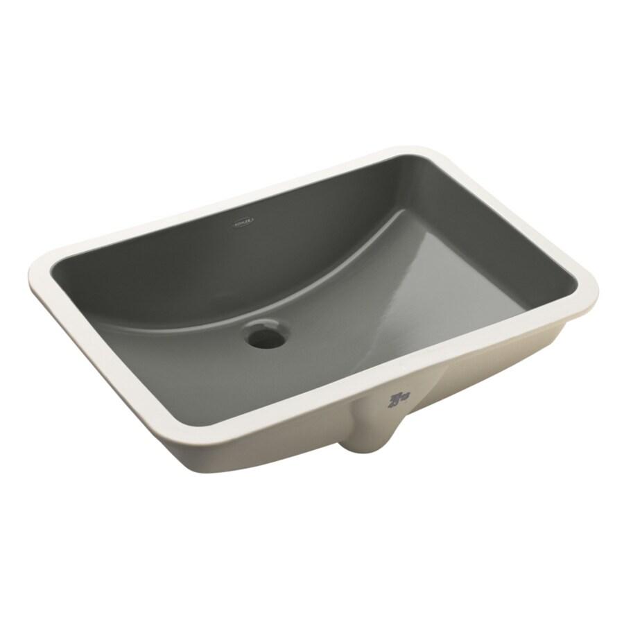 KOHLER Ladena Thunder Grey Undermount Rectangular Bathroom Sink with Overflow