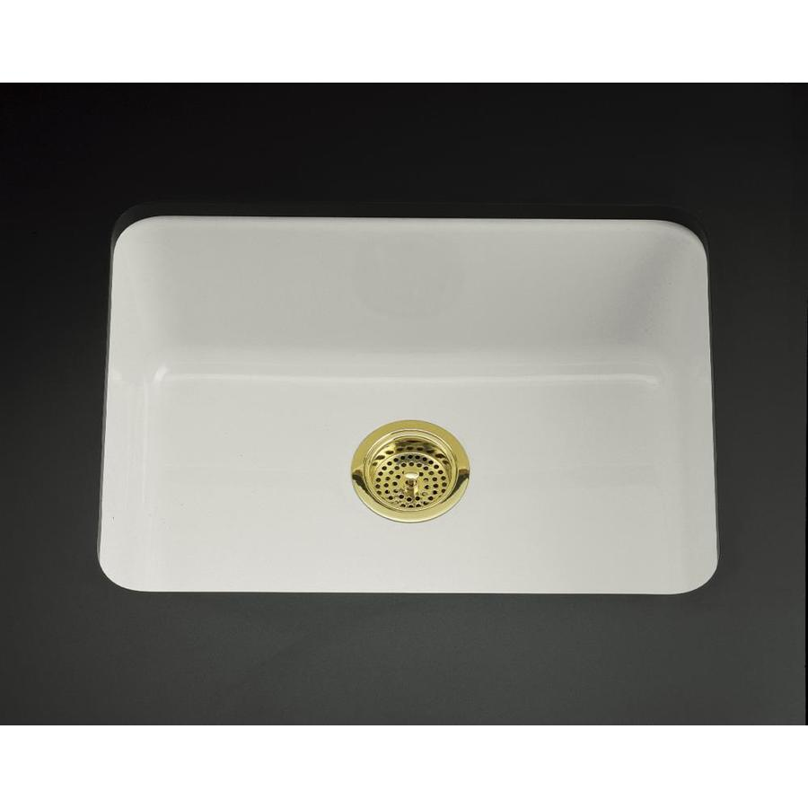 KOHLER Iron/Tones 18.75-in x 24.25-in Ice Grey Single-Basin Cast Iron Drop-in Residential Kitchen Sink