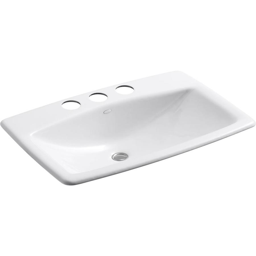 KOHLER Man's Lav White Cast Iron Undermount Rectangular Bathroom Sink with Overflow