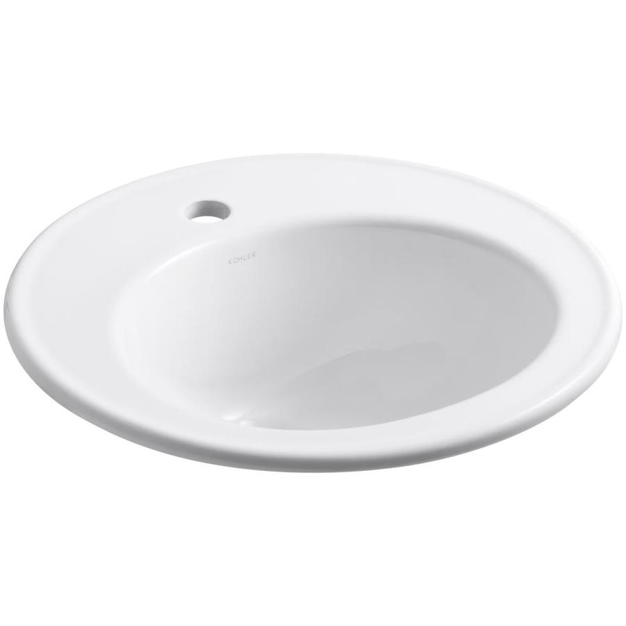 Kohler Drop In Bathroom Sink : Shop KOHLER Brookline White Drop-in Round Bathroom Sink with Overflow ...