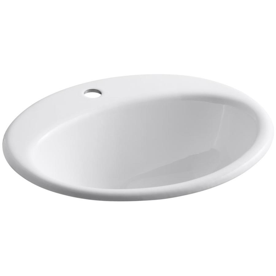 KOHLER Farmington White Cast Iron Drop-in Oval Bathroom Sink with Overflow