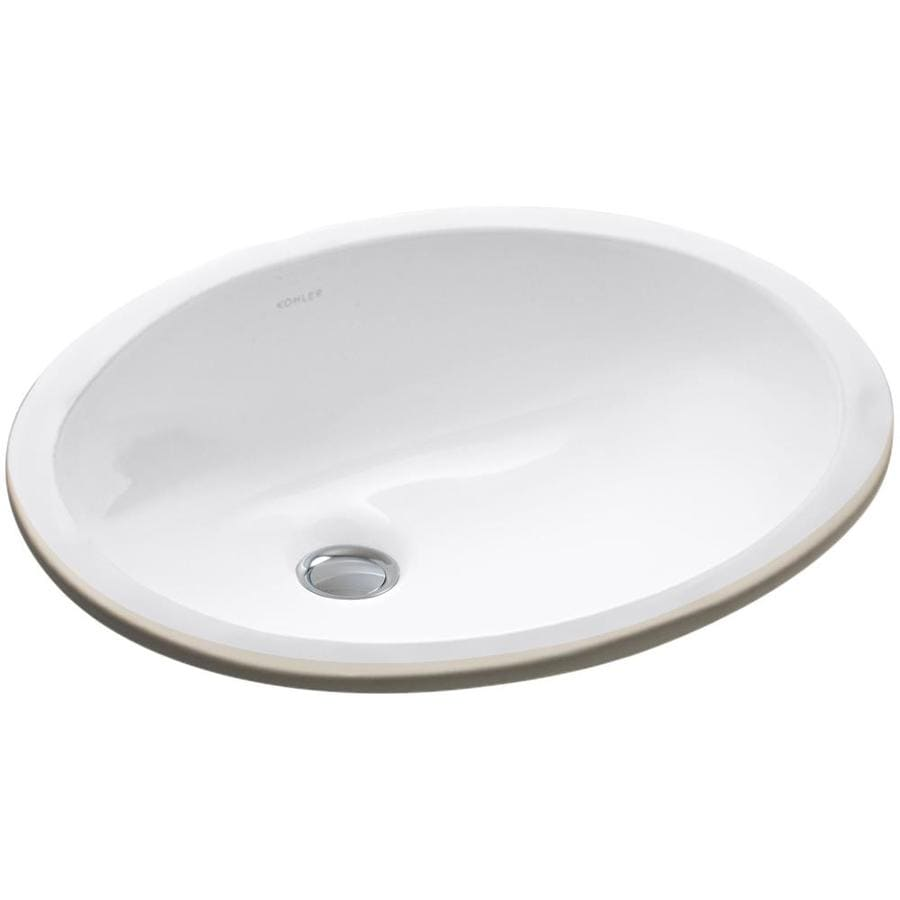 Shop Kohler Caxton White Undermount Oval Bathroom Sink With Overflow At