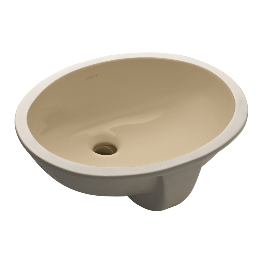 KOHLER Caxton Mexican Sand Undermount Oval Bathroom Sink with Overflow