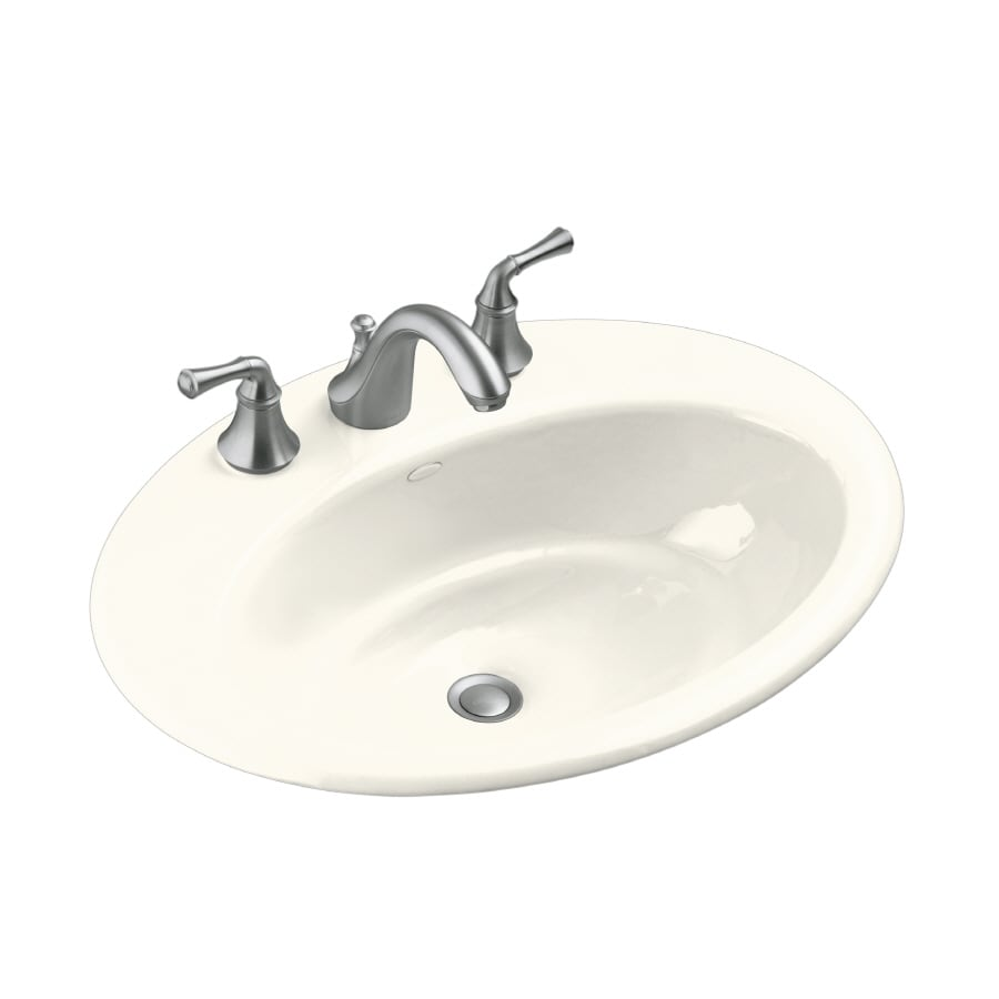 KOHLER Thoreau Biscuit Cast Iron Drop-in Oval Bathroom Sink with Overflow