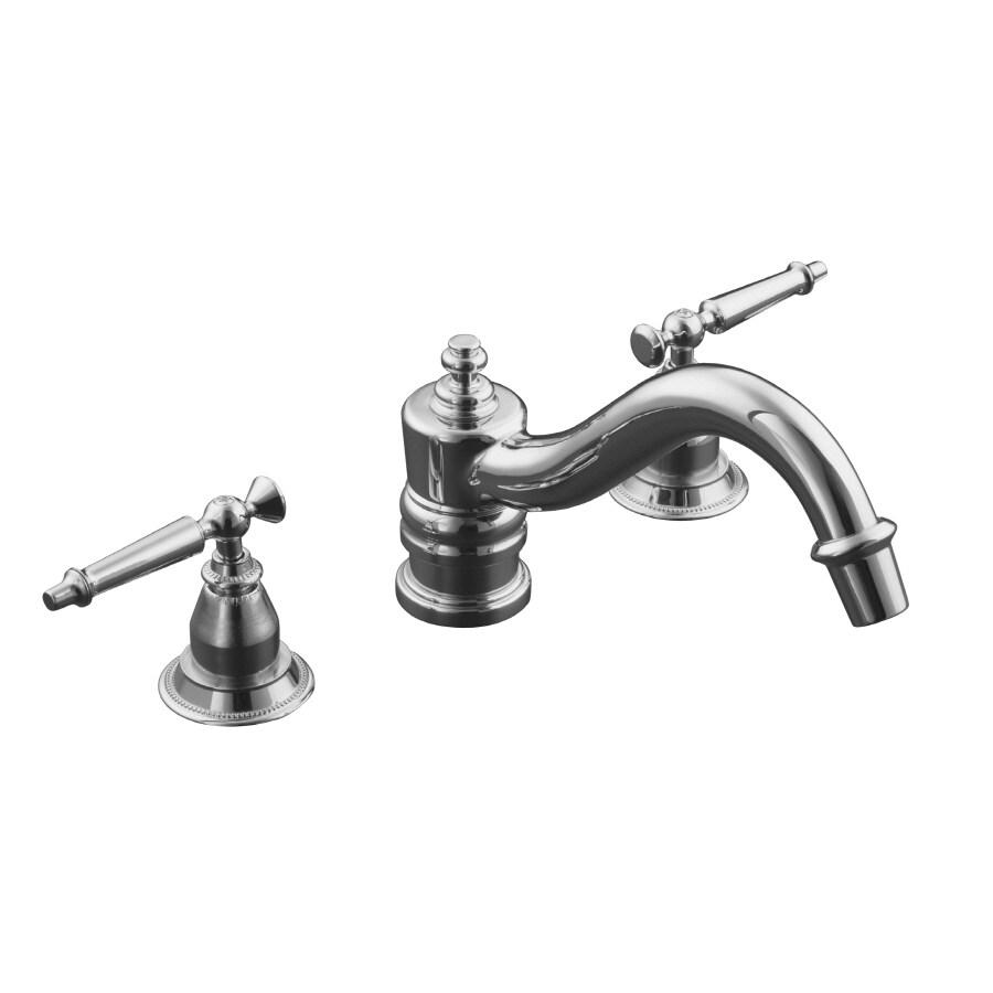 KOHLER Antique Polished Chrome 2-Handle Fixed Deck Mount Bathtub Faucet