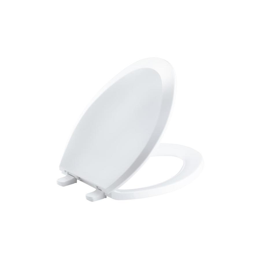 KOHLER Lustra White Plastic Elongated Toilet Seat