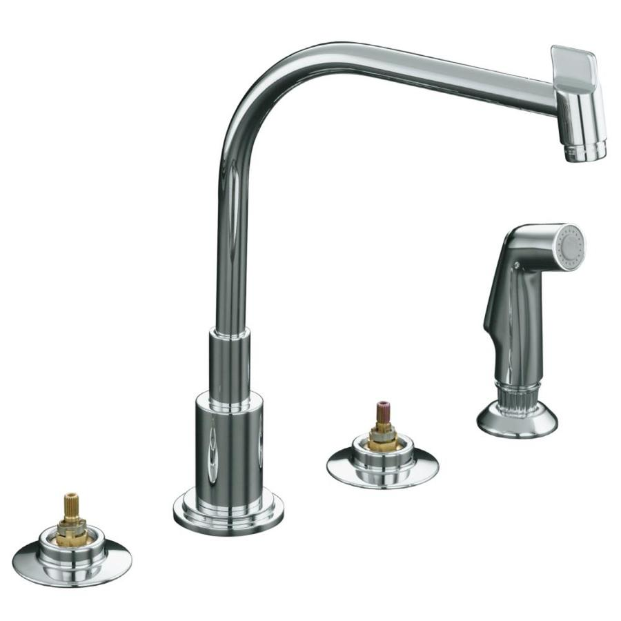 KOHLER Triton Polished Chrome 2-Handle High-Arc Kitchen Faucet with Side Spray