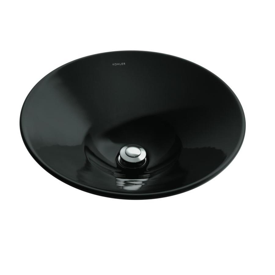 KOHLER Conical Bell Black Vessel Round Bathroom Sink