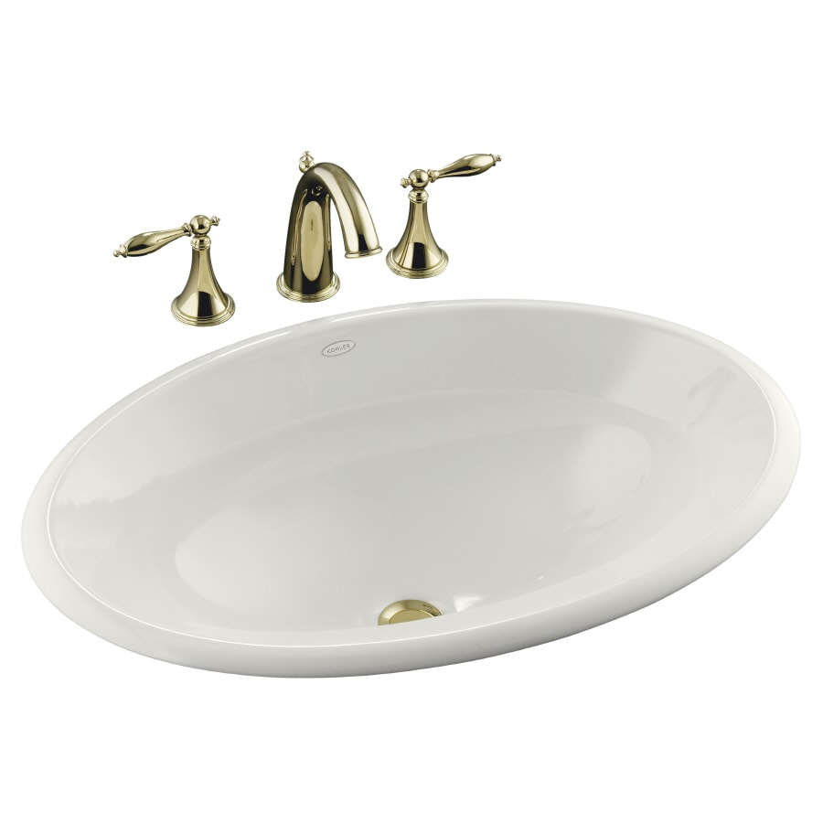 shop kohler centerpiece white drop in oval bathroom sink
