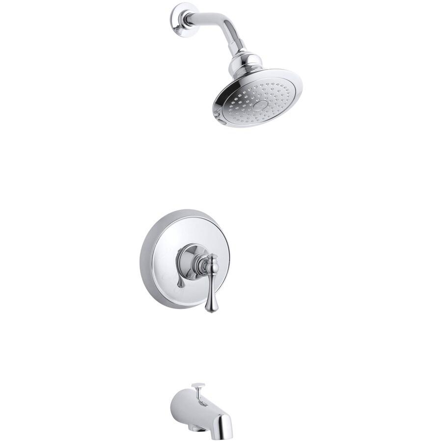 KOHLER Revival Polished Chrome 1-Handle Bathtub and Shower Faucet Trim Kit with Single Function Showerhead