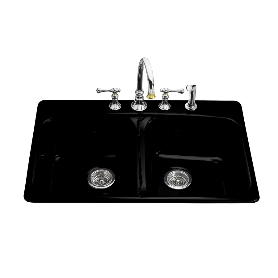 KOHLER Brookfield 22-in x 33-in Black Double-Basin Cast Iron Drop-In 4-Hole Commercial Kitchen Sink