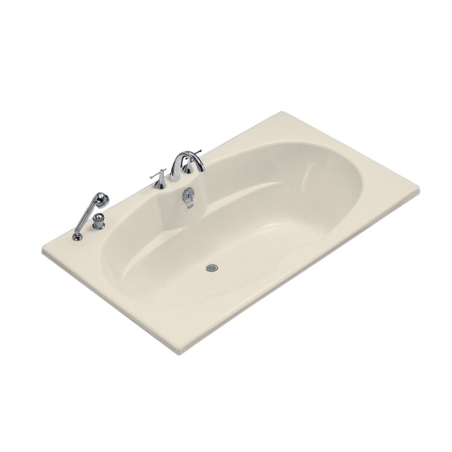 KOHLER ProFlex Almond Acrylic Oval In Rectangle Drop-in Bathtub with Center Drain (Common: 42-in x 72-in; Actual: 20.13-in x 42-in x 72-in)