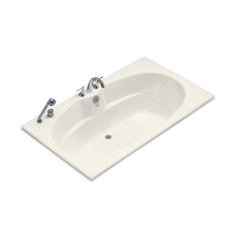 KOHLER ProFlex Biscuit Acrylic Oval In Rectangle Drop-in Bathtub with Center Drain (Common: 42-in x 72-in; Actual: 20.13-in x 42-in x 72-in)