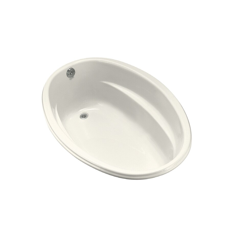 KOHLER ProFlex Biscuit Acrylic Oval Drop-in Bathtub with Reversible Drain (Common: 40-in x 60-in; Actual: 17.63-in x 40-in x 60-in)