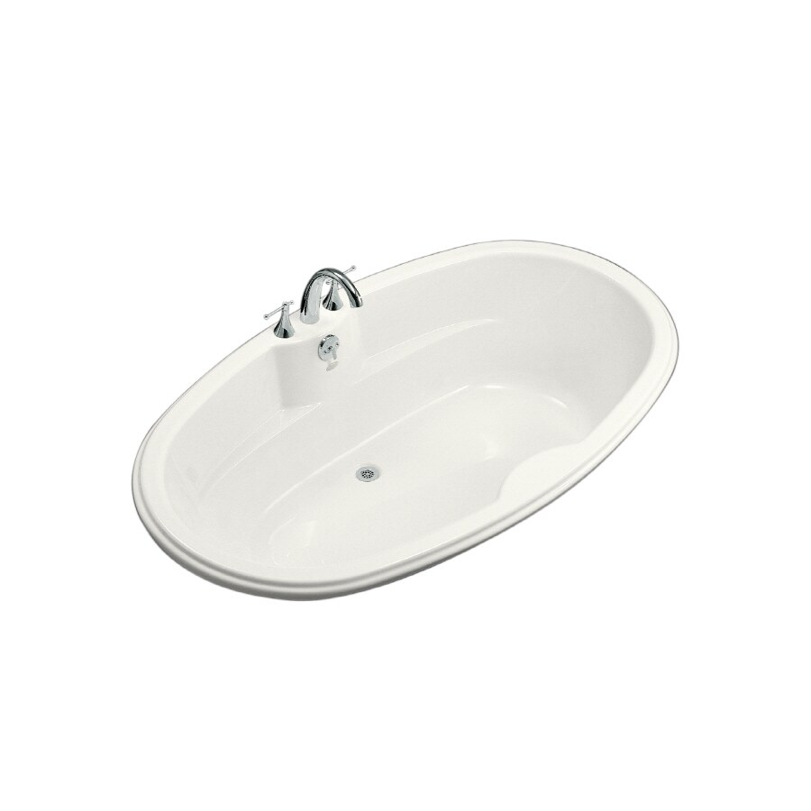 KOHLER ProFlex White Acrylic Oval Drop-in Bathtub with Center Drain (Common: 43-in x 72-in; Actual: 19.75-in x 42.13-in x 72-in)