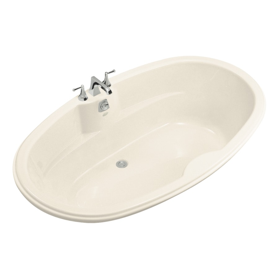 KOHLER ProFlex Almond Acrylic Oval Drop-in Bathtub with Center Drain (Common: 43-in x 72-in; Actual: 19.75-in x 42.13-in x 72-in)