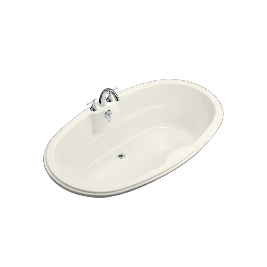 KOHLER ProFlex Biscuit Acrylic Oval Drop-in Bathtub with Center Drain (Common: 43-in x 72-in; Actual: 19.75-in x 42.13-in x 72-in)