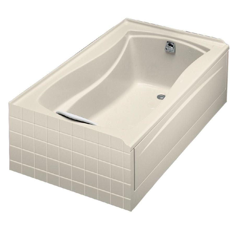 KOHLER Mariposa Almond Acrylic Hourglass In Rectangle Skirted Bathtub with Right-Hand Drain (Common: 36-in x 60-in; Actual: 20-in x 36-in x 60-in)