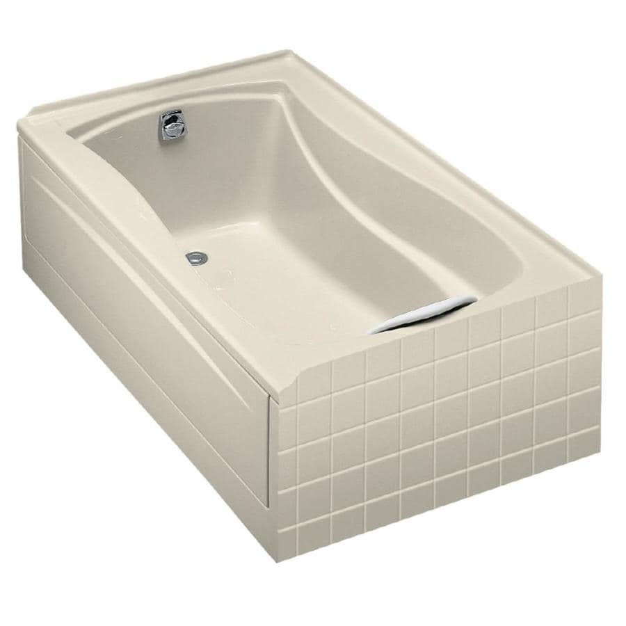 KOHLER Mariposa Almond Acrylic Hourglass In Rectangle Drop-in Bathtub with Left-Hand Drain (Common: 36-in x 60-in; Actual: 20-in x 36-in x 60-in)