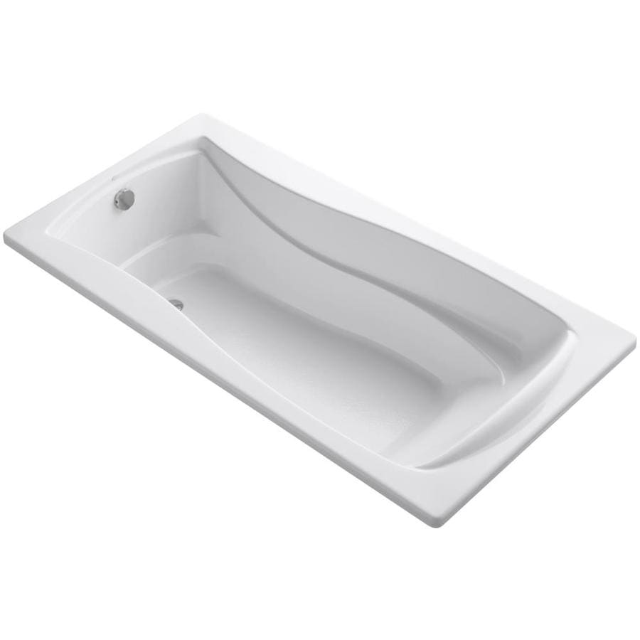 KOHLER Mariposa White Acrylic Hourglass In Rectangle Drop-in Bathtub with Reversible Drain (Common: 36-in x 72-in; Actual: 20-in x 36-in x 72-in)