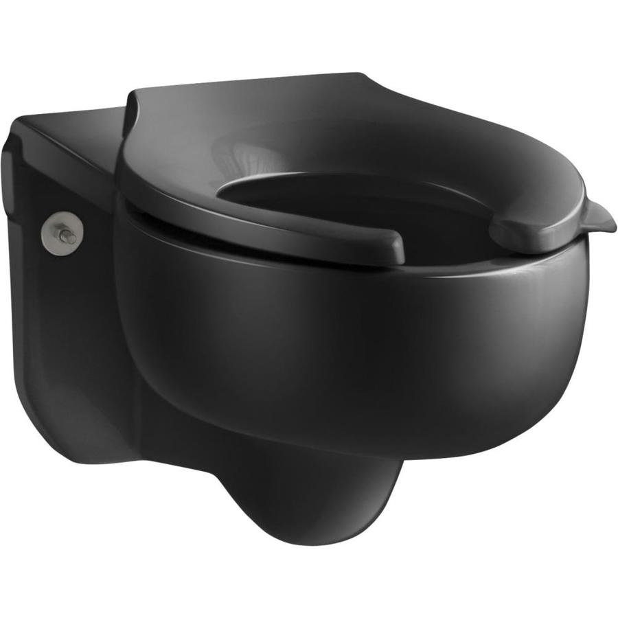 KOHLER Stratton Chair Height Black Wall-Hung Rough-In Pressure Assist Elongated Toilet Bowl