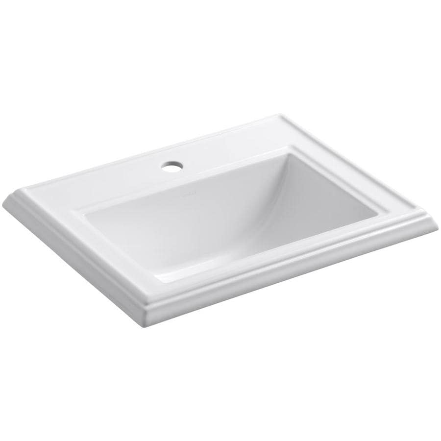 Memoirs White Drop-in Rectangular Bathroom Sink with Overflow Product Photo