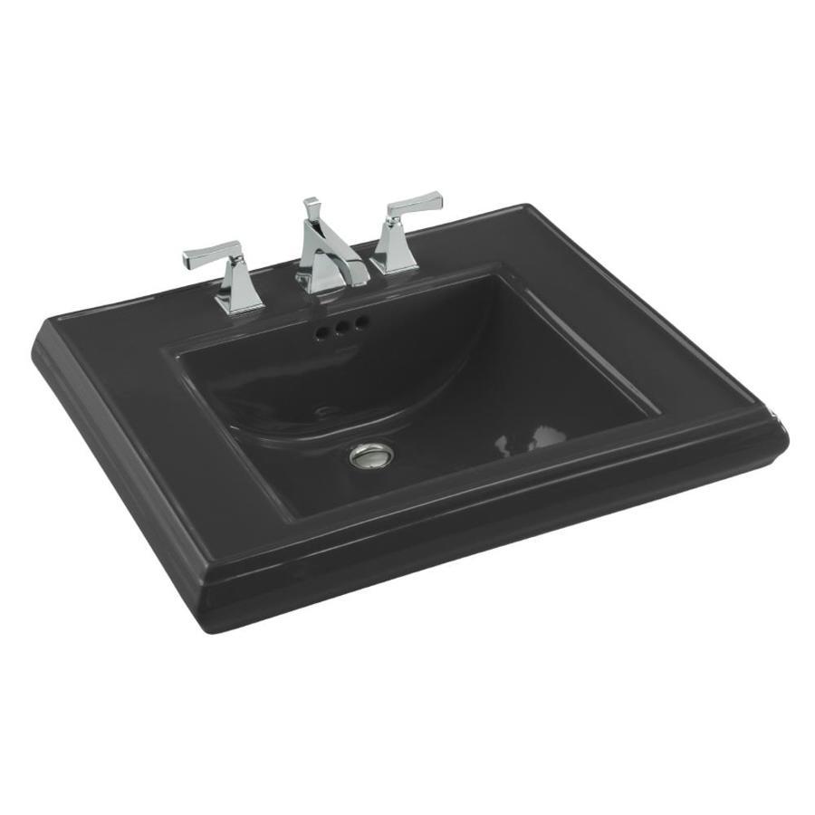 KOHLER 27-in L x 22-in W Black Fire Clay Pedestal Sink Top