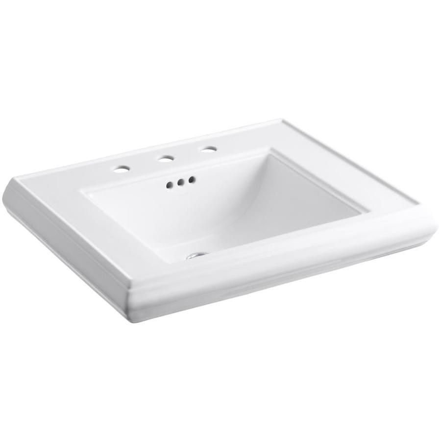 KOHLER Memoirs 27-in L x 22-in W White Fire Clay Rectangular Pedestal Sink Top