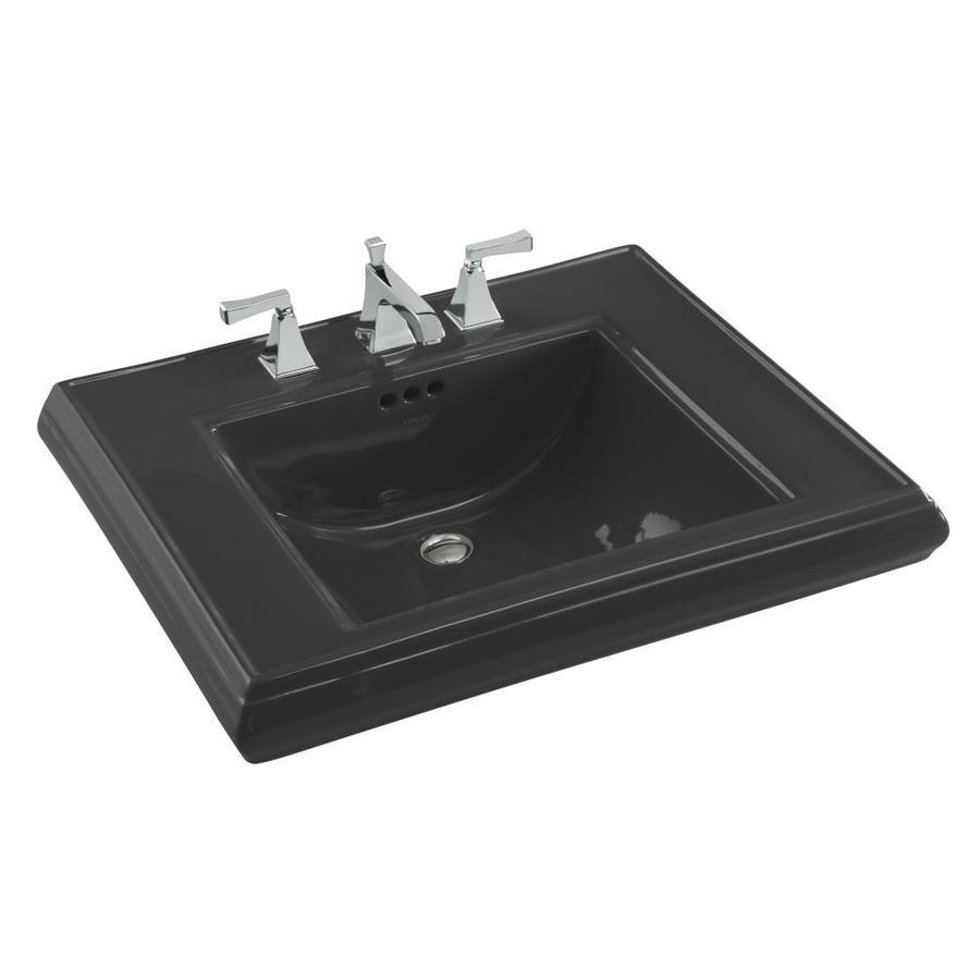 KOHLER Memoirs 27-in L x 22-in W Black Fire Clay Rectangular Pedestal Sink Top