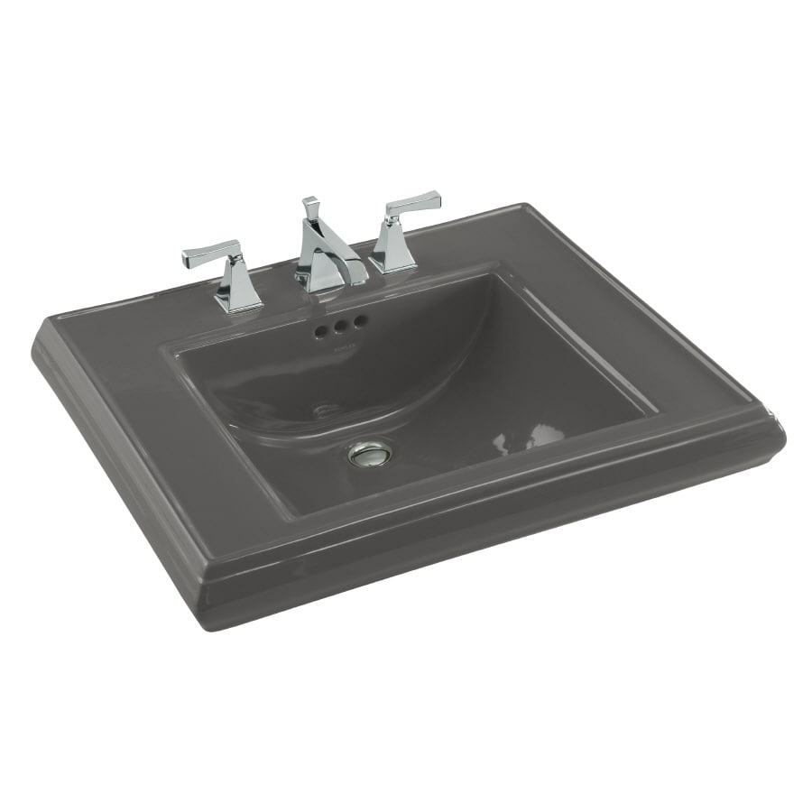 KOHLER 27-in L x 22-in W Thunder Grey Fire Clay Pedestal Sink Top
