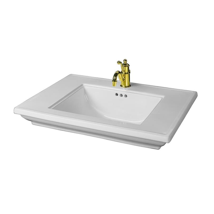 KOHLER Memoirs White Fire Clay Drop-in Rectangular Bathroom Sink with Overflow