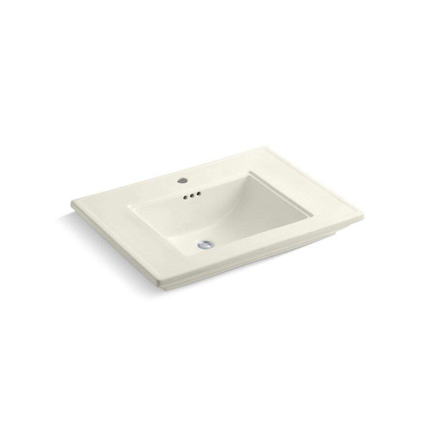 KOHLER Memoirs Biscuit Fire Clay Drop-in Rectangular Bathroom Sink with Overflow