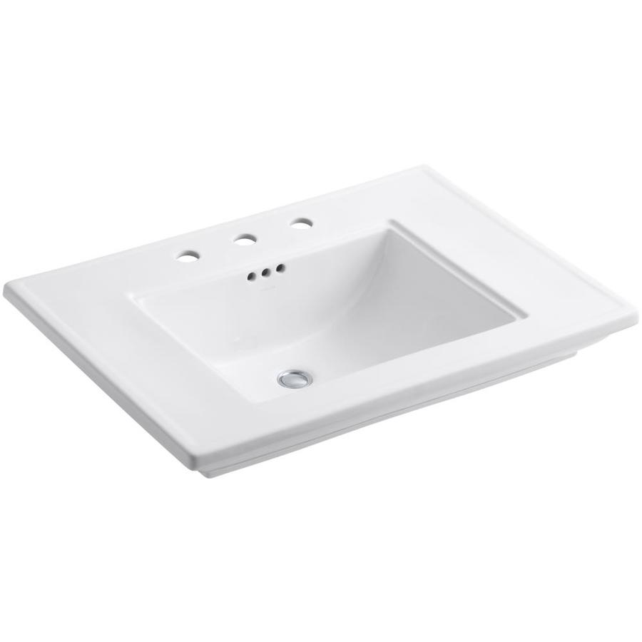 KOHLER Memoirs White Fire Clay Drop-in Rectangular Bathroom Sink with Overflow