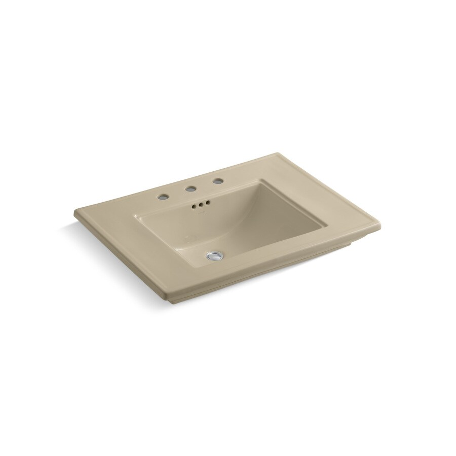 KOHLER Memoirs Mexican Sand Fire Clay Drop-in Rectangular Bathroom Sink with Overflow
