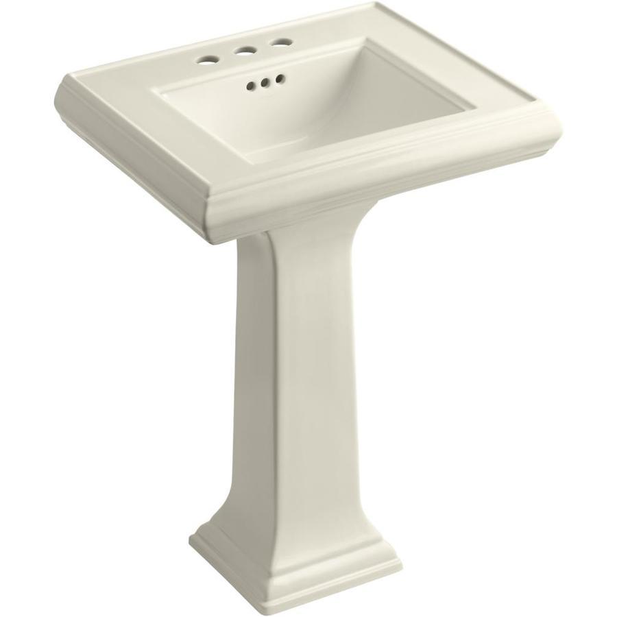 KOHLER Memoirs 34.375-in H Almond Fire Clay Pedestal Sink