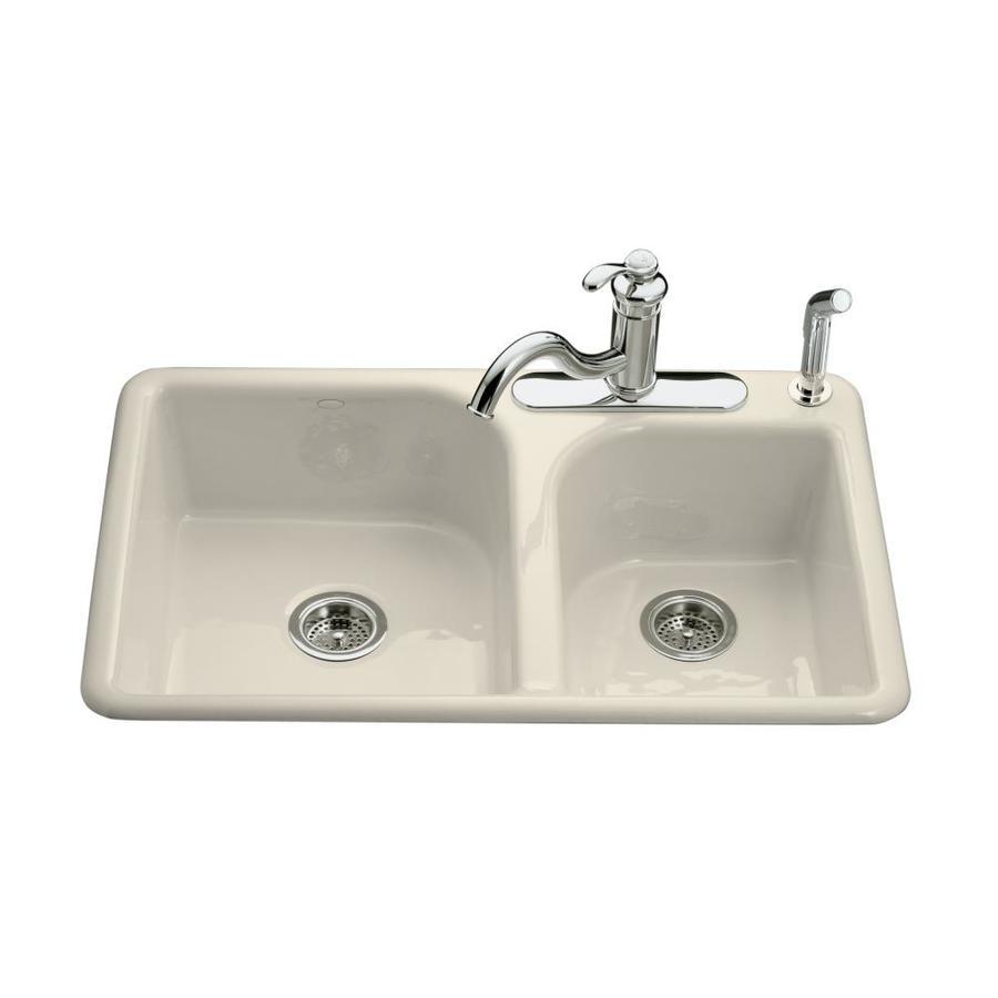 KOHLER Efficiency 22-in x 33-in Almond Double-Basin Cast Iron Drop-in 3-Hole Residential Kitchen Sink