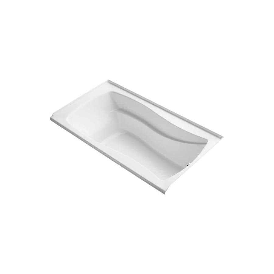 KOHLER Mariposa White Acrylic Hourglass in Rectangle Drop-in Bathtub with Right-Hand Drain (Common: 36-in x 66-in; Actual: 20-in x 36-in x 66-in)