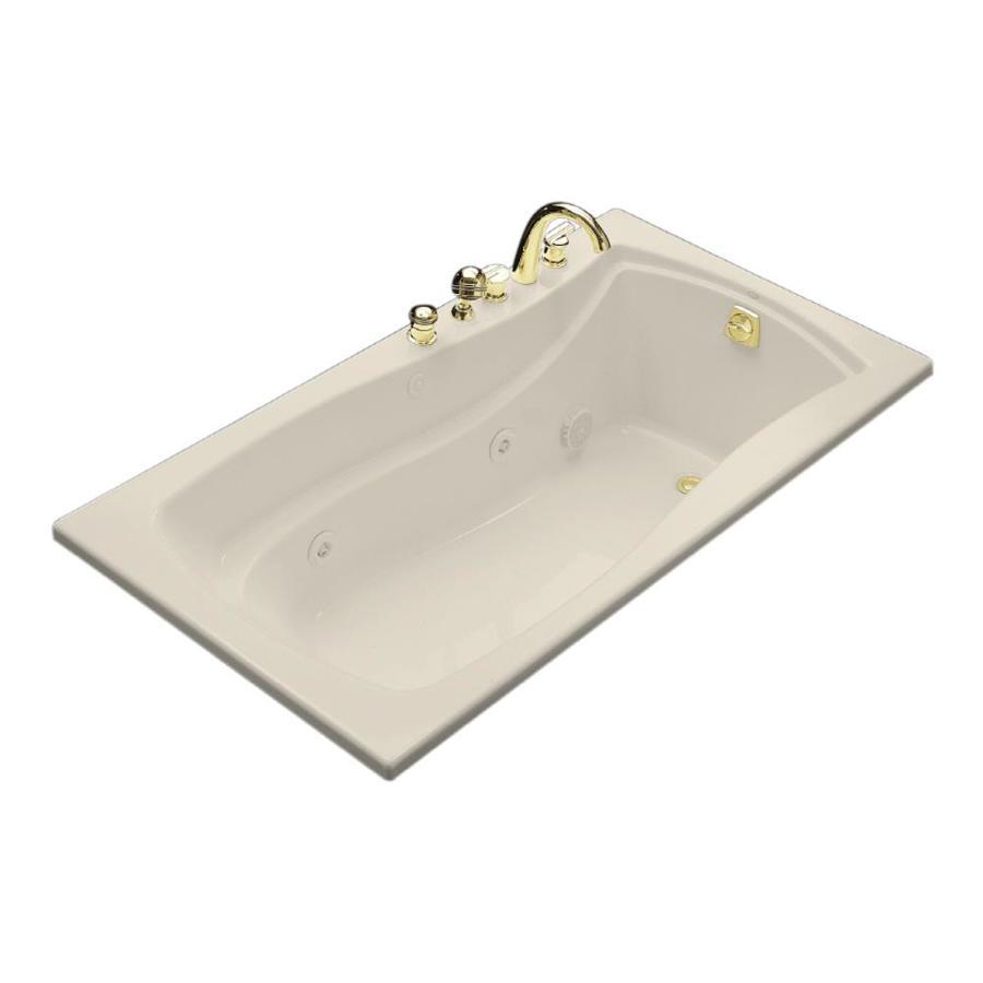 KOHLER Mariposa Almond Acrylic Rectangular Whirlpool Tub (Common: 36-in x 66-in; Actual: 20-in x 35.875-in x 66-in)