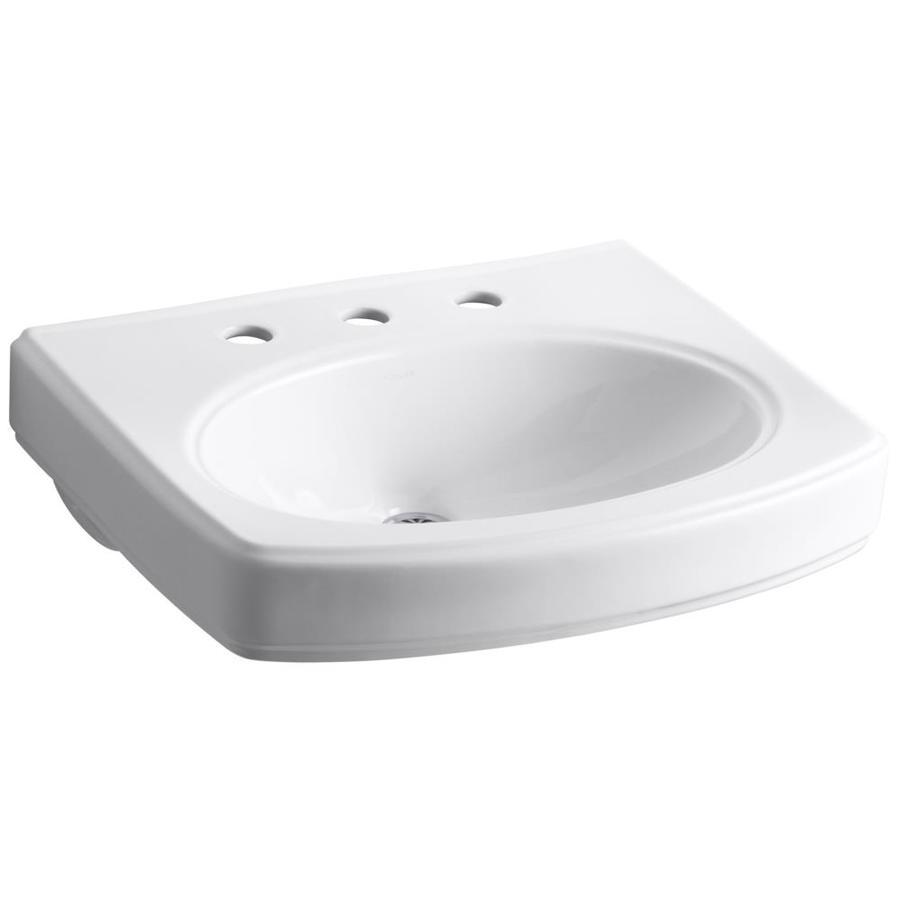 KOHLER Pinoir 22-in L x 18-in W White Vitreous China Rectangular Pedestal Sink Top