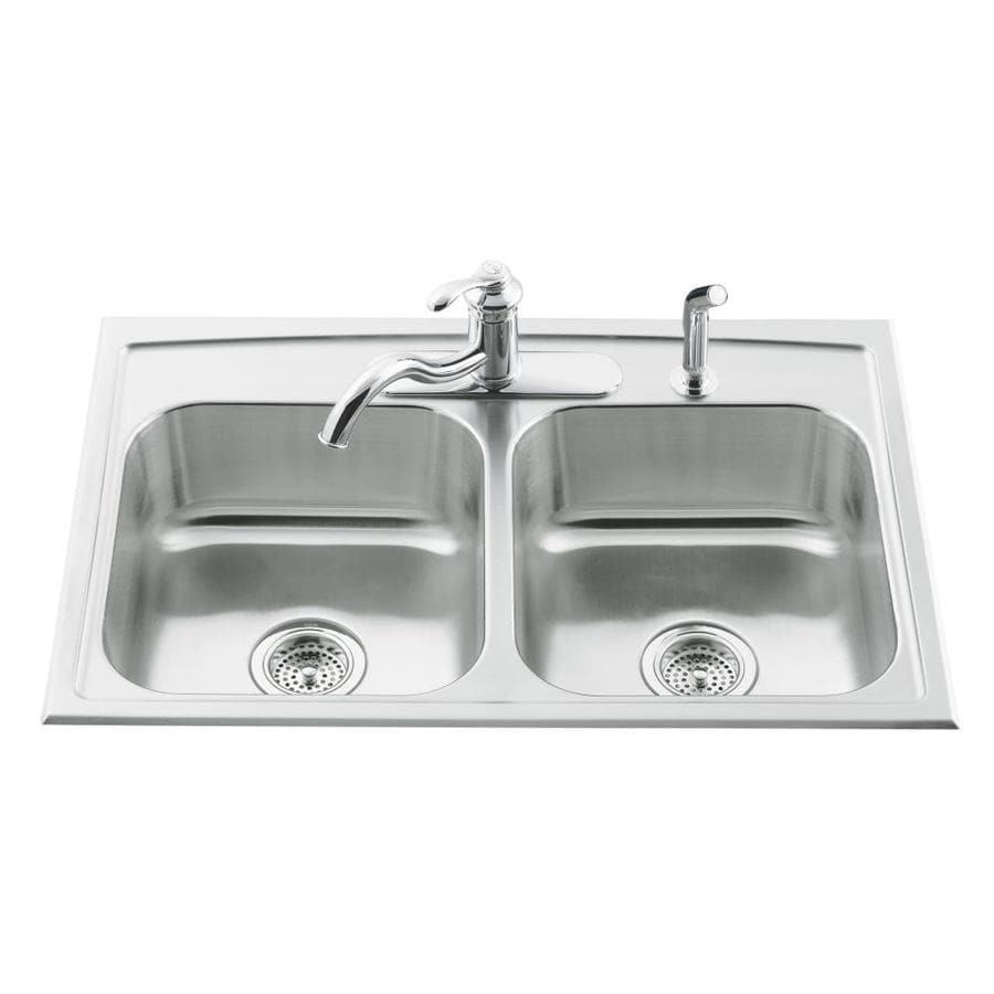 KOHLER Toccata 22-in x 33-in Stainless Steel Double-Basin Drop-in 3-Hole Residential Kitchen Sink