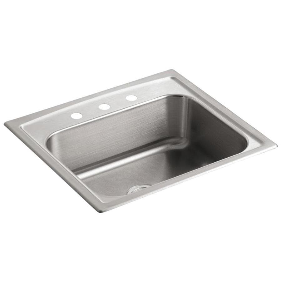 KOHLER Toccata 22-in x 25-in Stainless Steel Single-Basin Drop-in 3-Hole Residential Kitchen Sink
