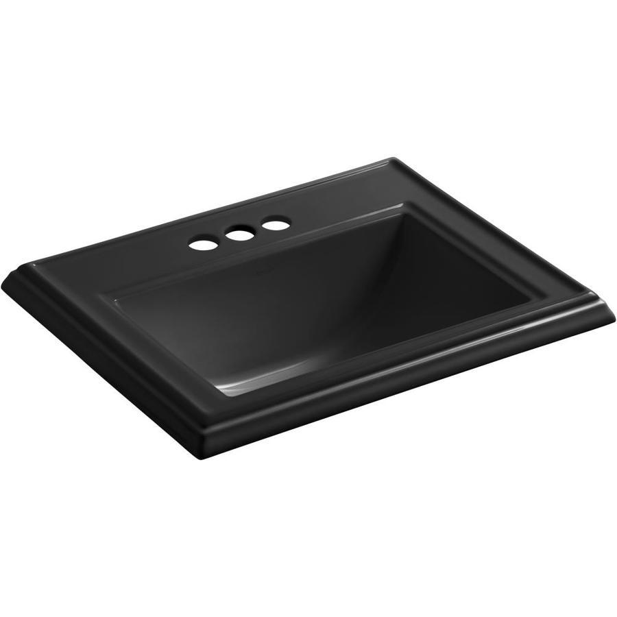 KOHLER Memoirs Black Drop-in Rectangular Bathroom Sink with Overflow