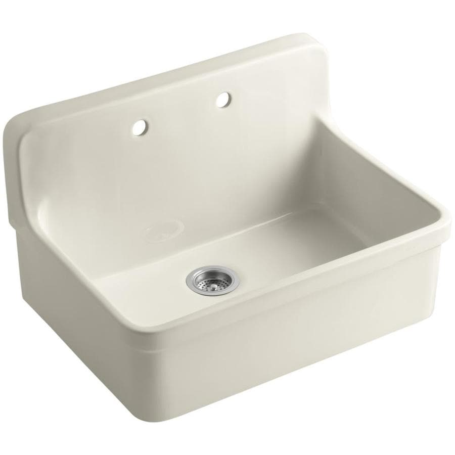 KOHLER Gilford 22-in x 30-in Almond Single-Basin Porcelain Drop-in 2-Hole Residential Kitchen Sink