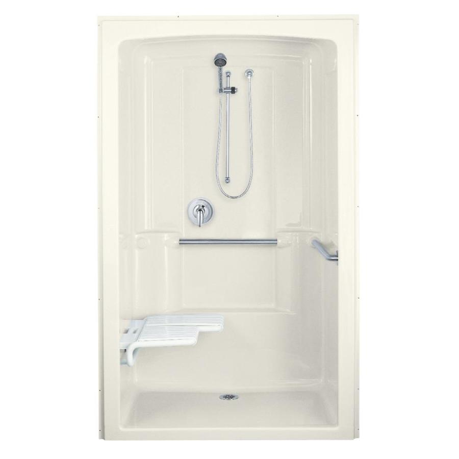 KOHLER Freewill Biscuit Acrylic One-Piece Shower with Integrated Seat (Common: 38-in x 52-in; Actual: 84-in x 37.5-in x 52-in)