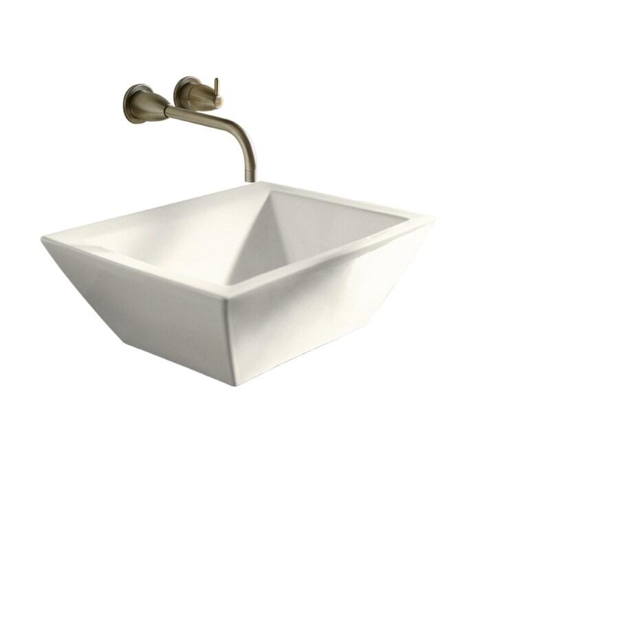 KOHLER Bateau Biscuit Vessel Square Bathroom Sink