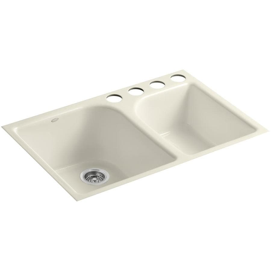 KOHLER Executive Chef 22-in x 33-in Almond Double-Basin Cast Iron Undermount 4-Hole Residential Kitchen Sink