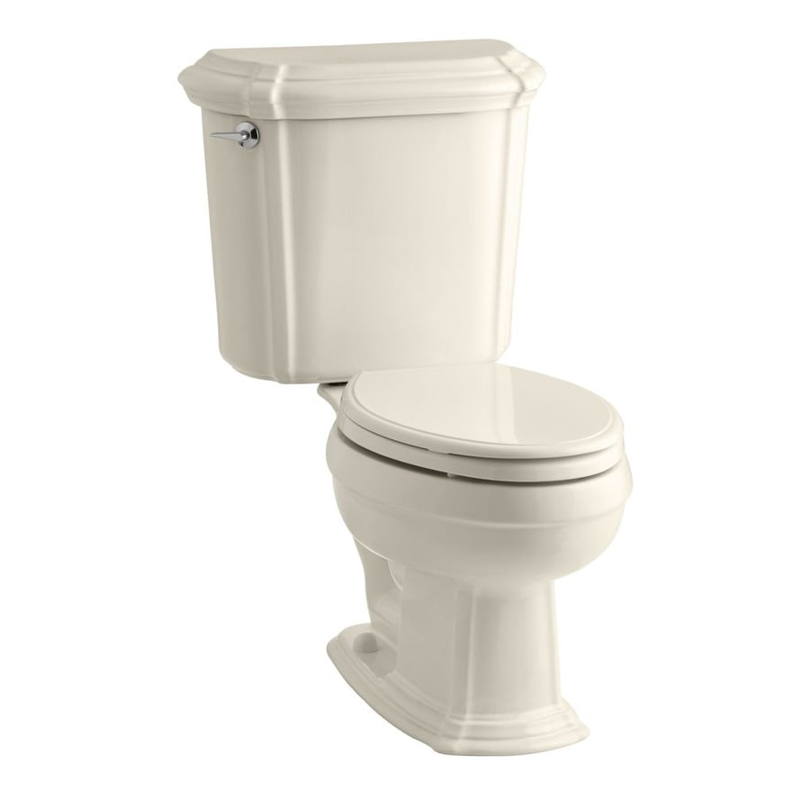 Shop KOHLER Almond Rough-In Elongated Toilet at Lowes.com