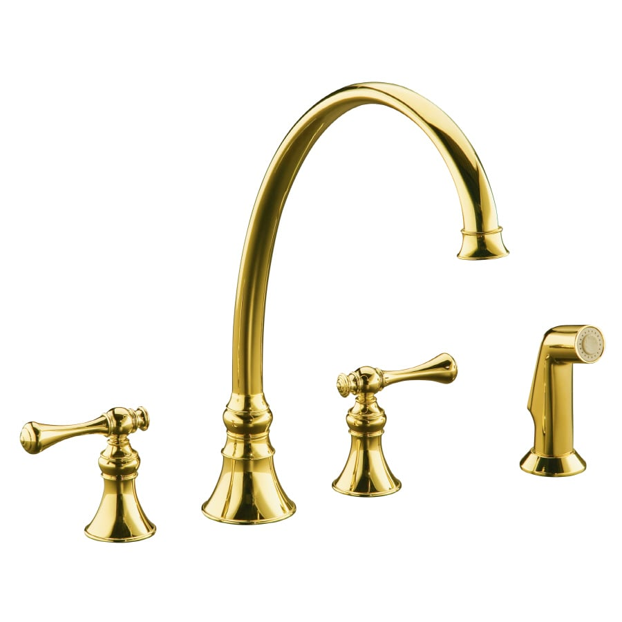 Kohler Kitchen Faucet With Side Spray : Kohler revival vibrant polished brass handle high arc kitchen faucet with side spray at