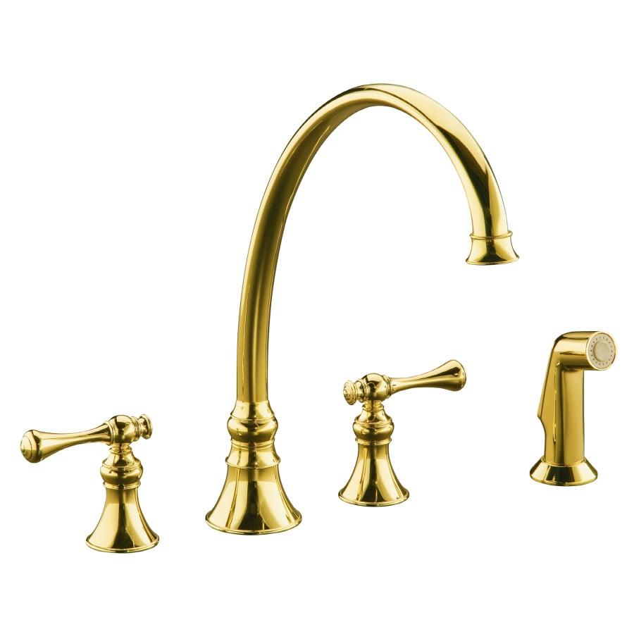 KOHLER Revival Vibrant Polished Brass 2-Handle High-Arc Kitchen Faucet with Side Spray
